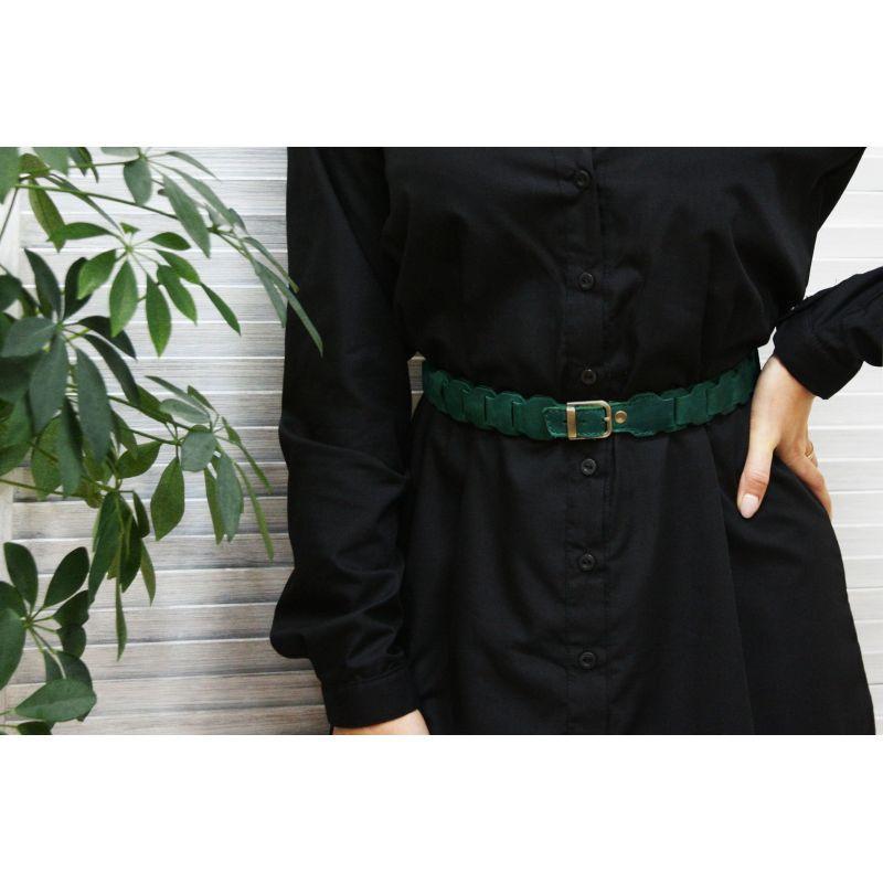 Жіночий шкіряний бохо-ремінь зелений