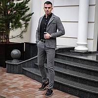 """Стильный мужской костюм casual """"Top"""" светло-серый в елочку - S, M, L"""