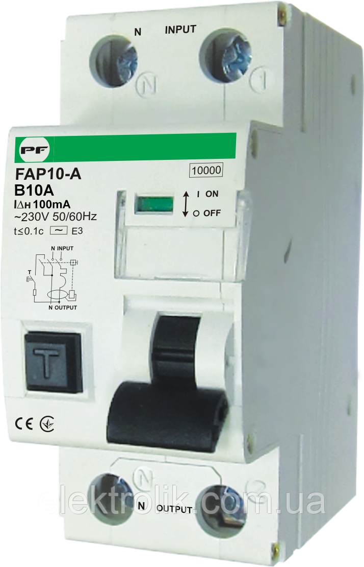 "Автомат захисного відключення FAP10-А 10kА    ""C""  1P+N  IΔn=100mA  In=10А"