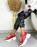 Женские кожаные кроссовки на платформе в разных цветах код 3424, фото 6