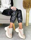 Женские кожаные кроссовки на платформе в разных цветах код 3424, фото 7