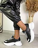 Женские кожаные кроссовки на платформе в разных цветах код 3424, фото 9
