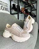 Женские кожаные кроссовки на платформе в разных цветах код 3424, фото 10