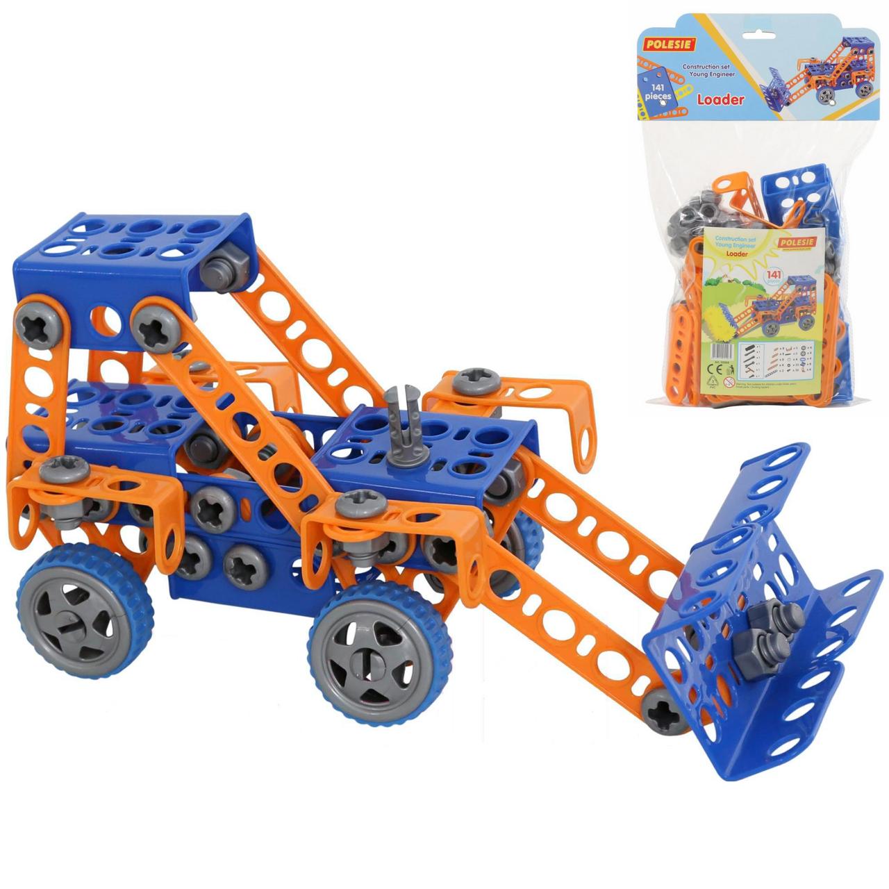 """Конструктор (Полісся) """"Винахідник"""" - """"Трактор-навантажувач №1"""", 141 елемент в пакеті (55064)"""