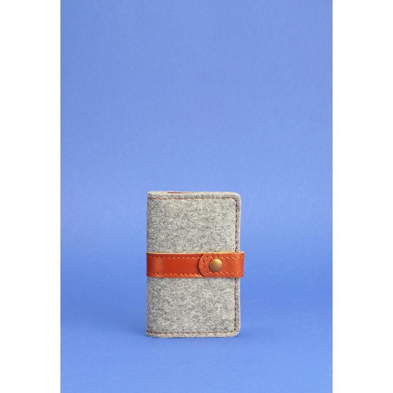 Фетровий кард-кейс 6.1 із коричневими шкіряними вставками