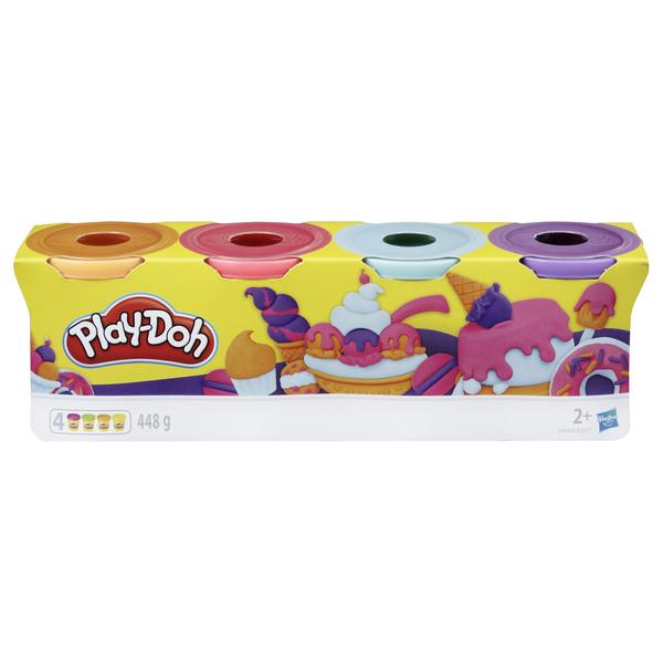 Набір з тестом Play-Doh 4 баночки (фіолетовий, блакитний, рожевий, помаранчевий) B5517_E4869