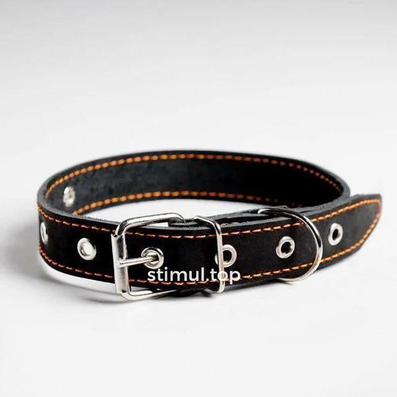 Ошейник кожаный для собак 30мм х 63см 🐕 Ошейник для собак кожаный безразмерный черный