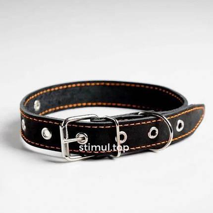 Ошейник кожаный для собак 30мм х 63см 🐕 Ошейник для собак кожаный безразмерный черный, фото 2