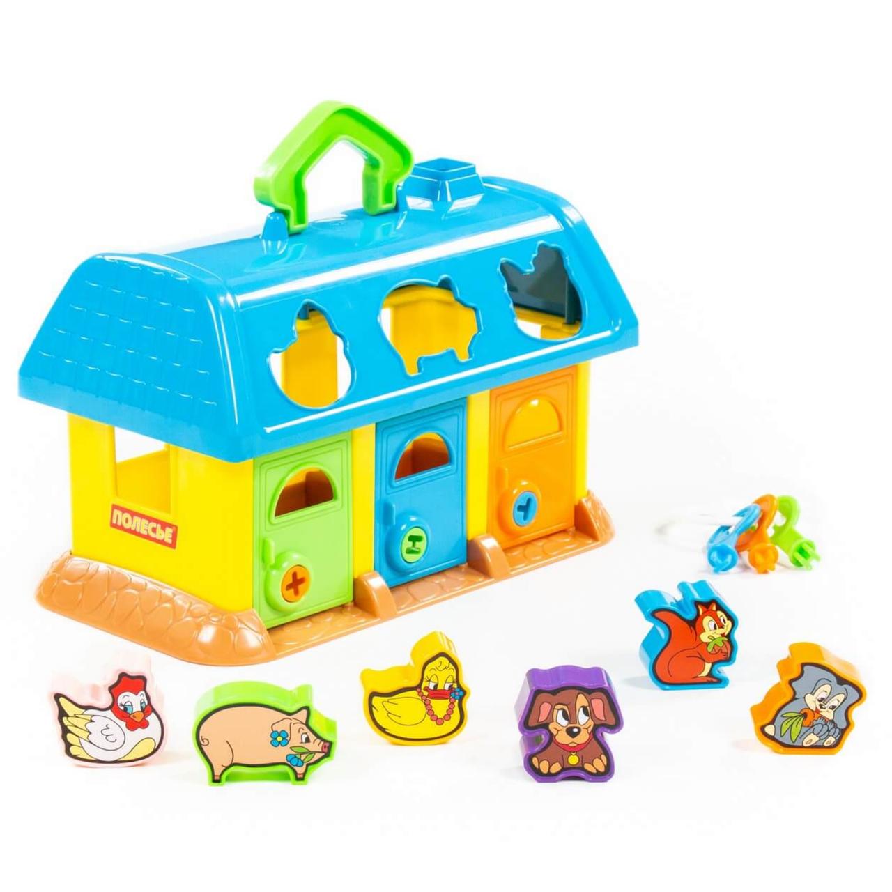 """Розвиваюча іграшка-сортер """"Логічний будиночок для звірів"""" синій, Polesie (9166-3)"""