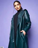 Пальто женское без застежки из эко-кожи весна размеры: 46-56