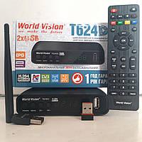Т2 тюнер WorldVision T624D2+ Интернет+IPTV+ YouTube+ AC3+WiFi адаптер