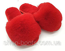 Женские тапочки с красным мехом и открытым носком