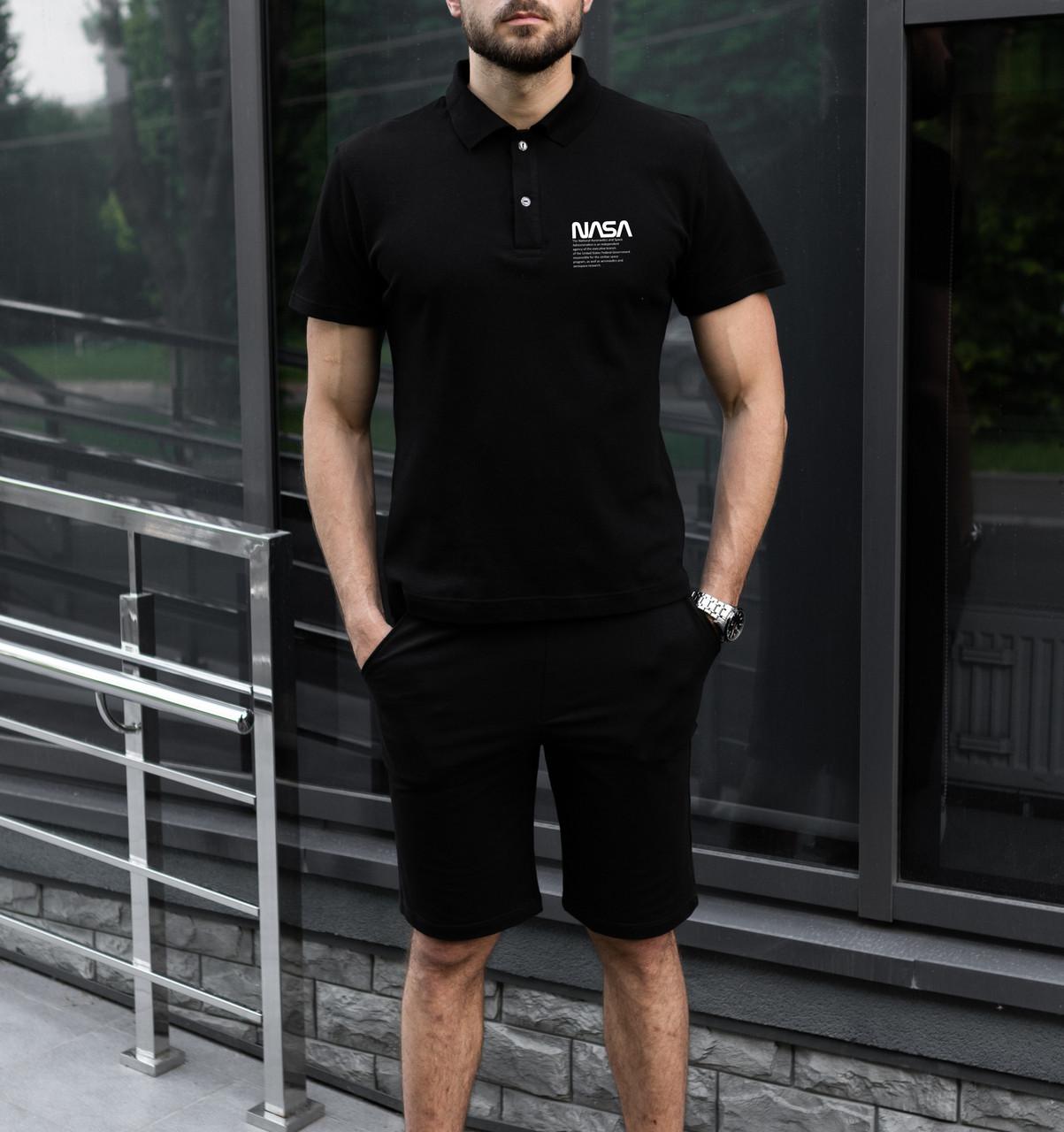 """Мужской летний комплект чёрное поло с принтом """"NASA"""" и чёрные шорты"""