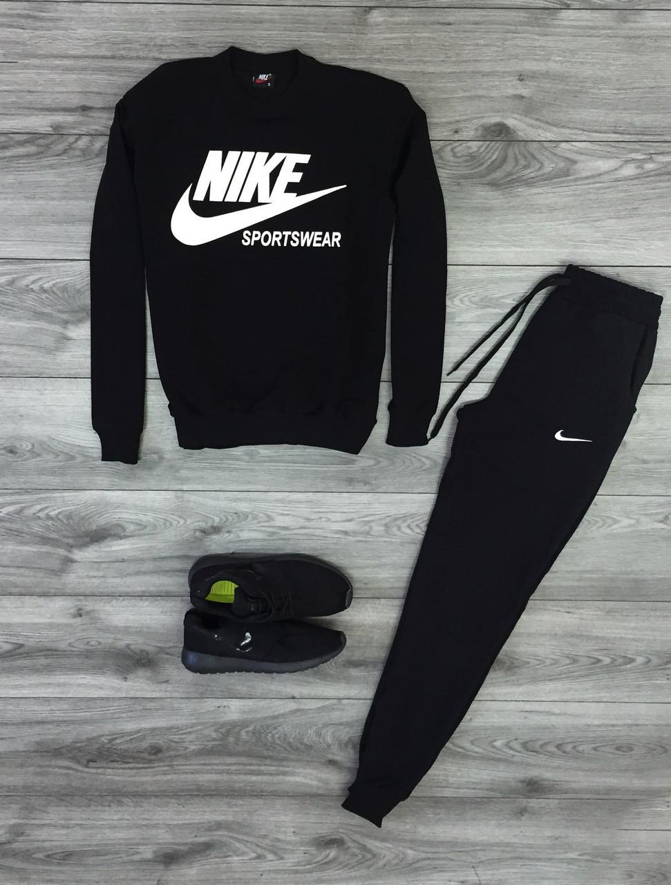 """Чоловічий спортивний костюм чорний світшот з принтом """"Nikе"""" і чорні штани з принтом """"Nikе"""""""