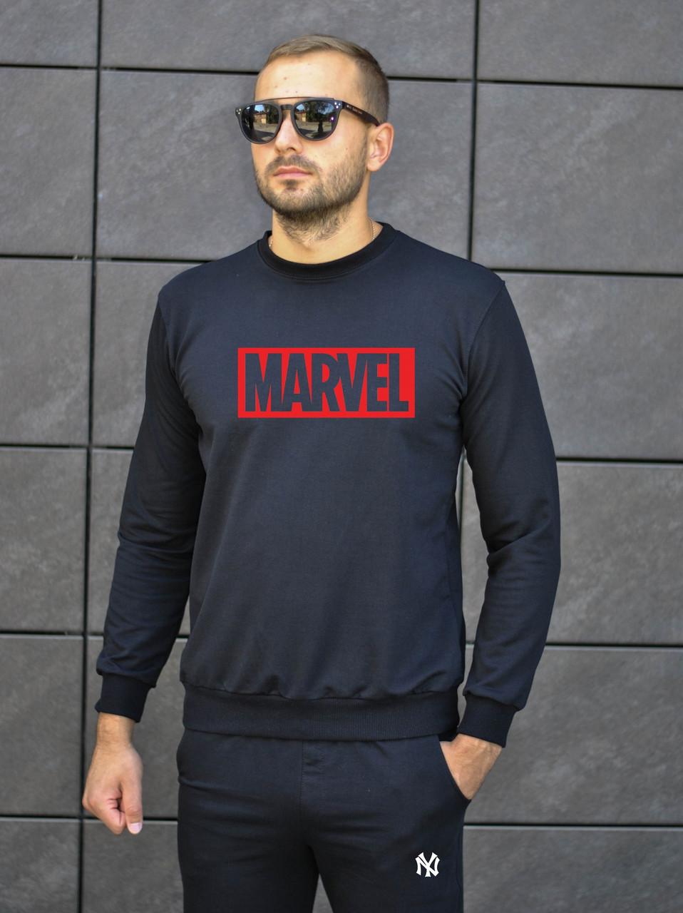 """Мужской спортивный костюм чёрный свитшот с принтом """"MARVEL"""" и чёрные штаны с принтом """"MARVEL"""""""