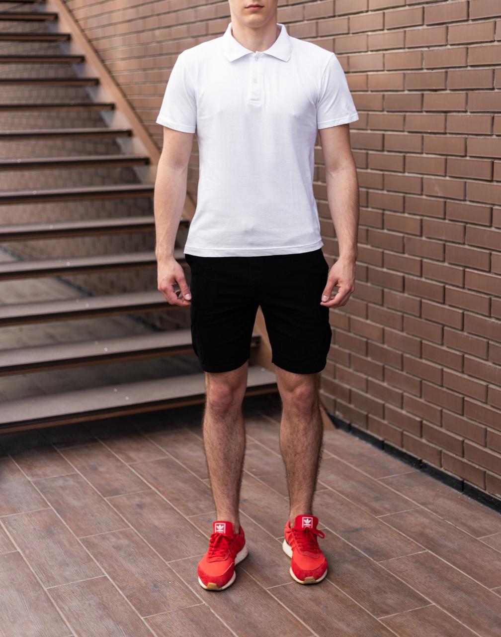 Мужской летний комплект белое поло и чёрные шорты с карманами на липучках