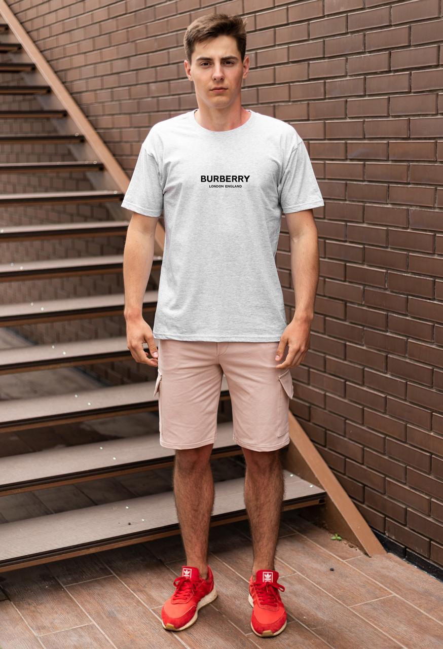 """Мужской летний комплект меланжевая футболка с принтом """"BURBERRY""""  и бежевые шорты с карманами на липучках"""