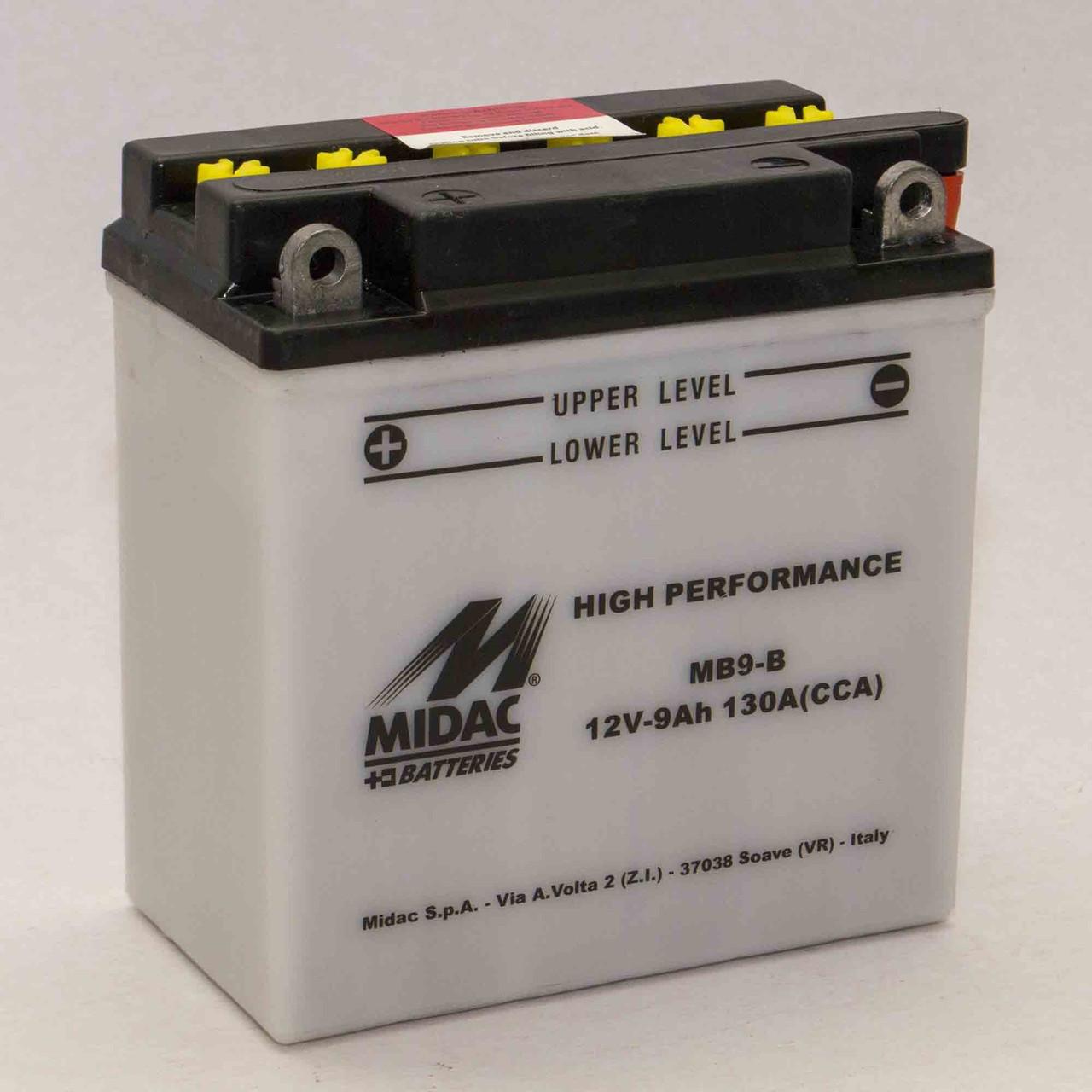 Аккумулятор мотоциклетный MIDAC MOTO 9Ач L+ 130A Италия