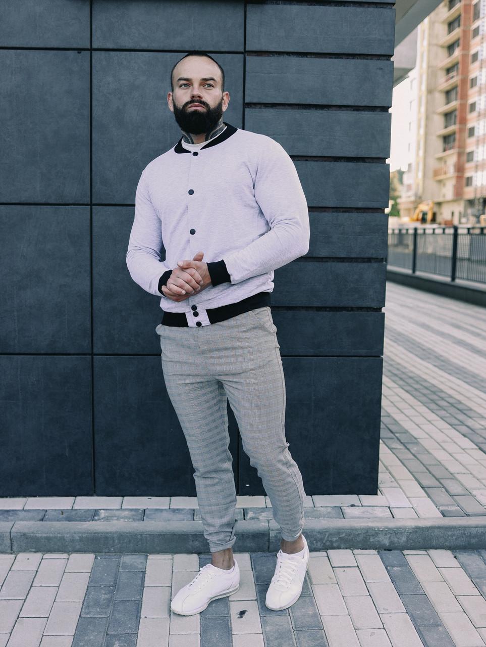 Мужской комплект белый бомбер + серые штаны
