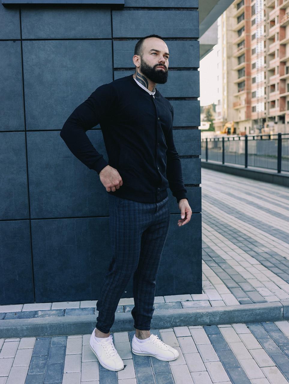 Мужской комплект черный бомбер + синие штаны