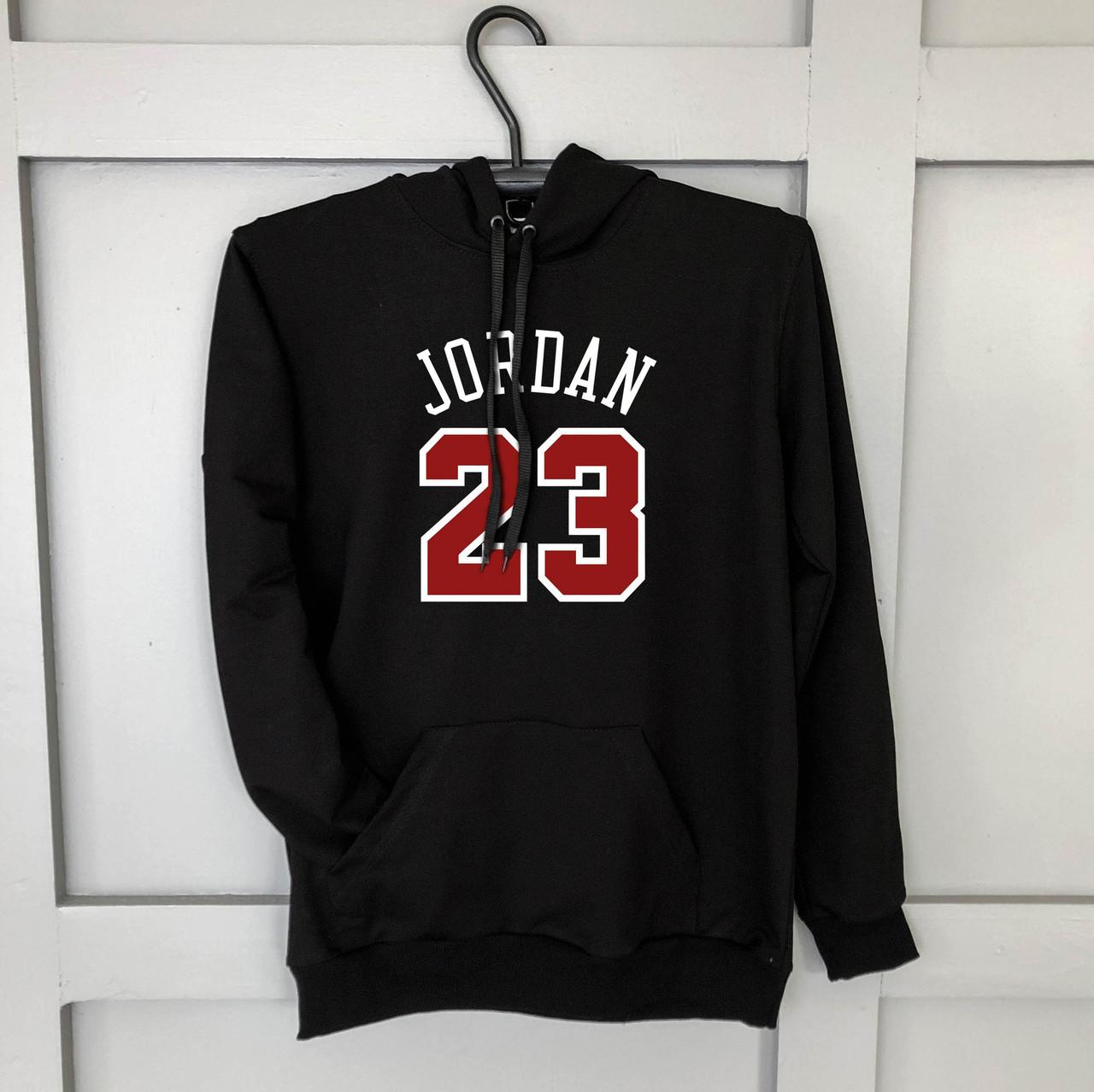 """Мужское утеплённое  черное худи с принтом """"Jordan 23"""""""