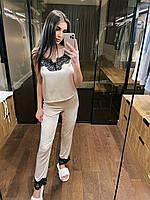 Піжама жіноча ніжна з шовку армані з красивим мереживом KXmil11
