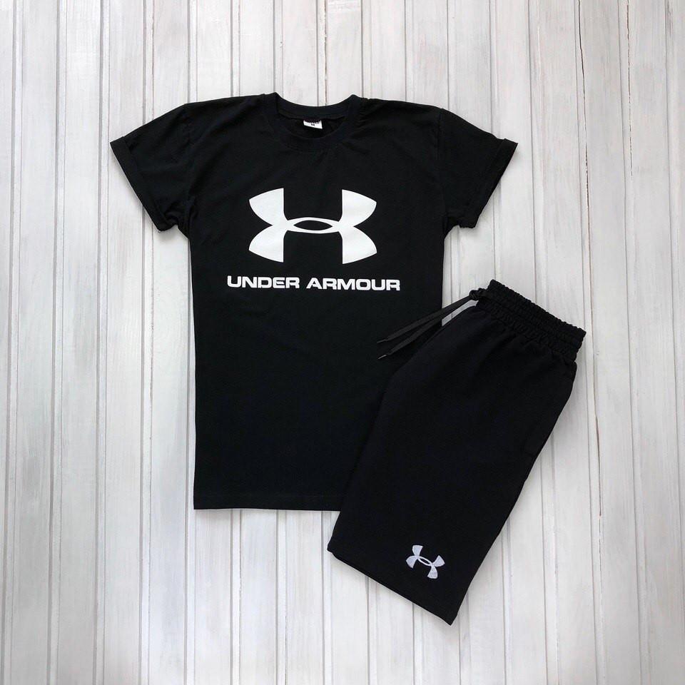 """Чоловічий річний комплект чорна футболка з принтом """"Under Armour"""" і чорні шорти з принтом """"Under Armour"""""""