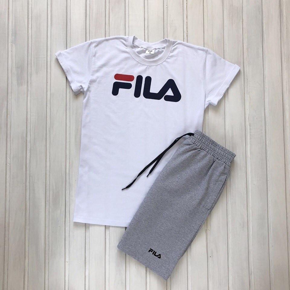 """Чоловічий річний комплект біла футболка з принтом """"Fila"""" і меланжеві шорти з принтом """"Fila"""""""