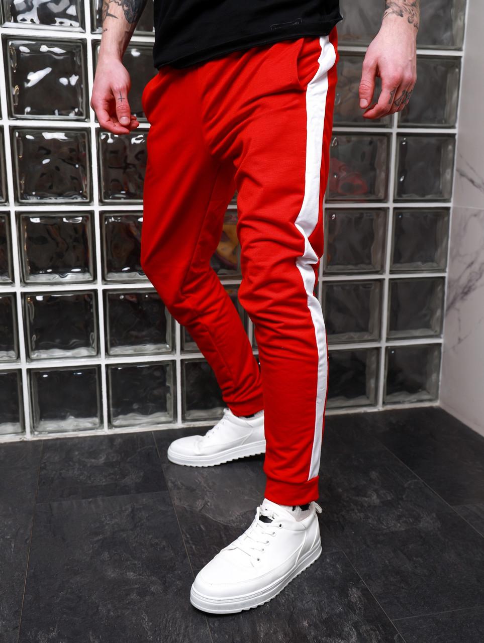 Мужские красные спортивные штаны с лампасом ASOS