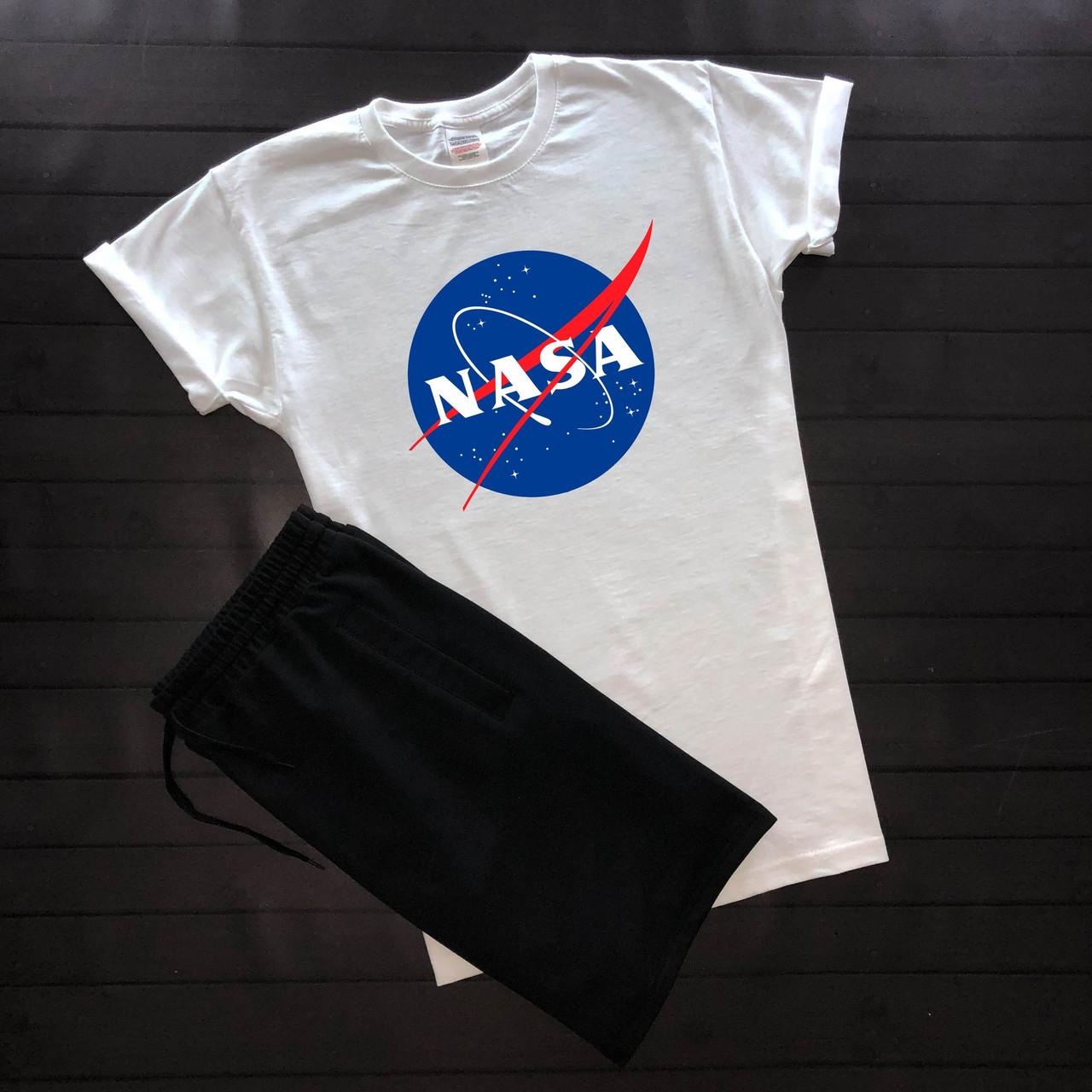 """Чоловічий річний комплект біла футболка з принтом """"Nasa"""" і чорні шорти"""