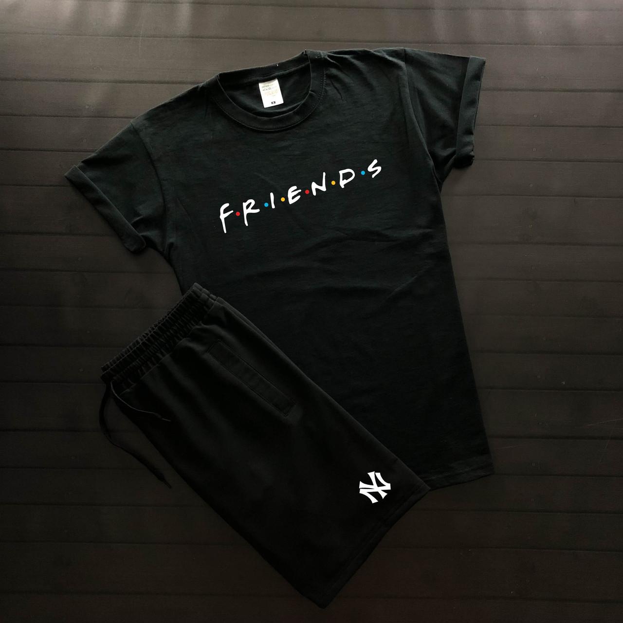 """Мужской летний комплект чёрная футболка с принтом """"Friends"""" и чёрные шорты с принтом """"NYC"""""""