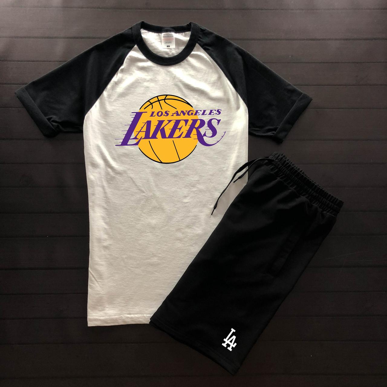 """Чоловічий річний комплект двоколірна футболка з принтом """"Lakers"""" і чорні шорти з принтом """"LA"""""""