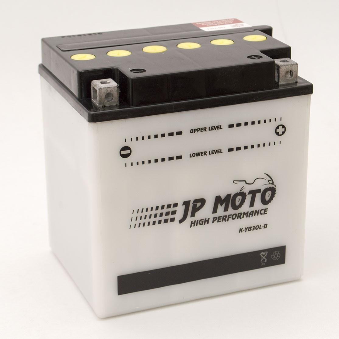Аккумулятор мотоциклетный JP Moto 30Ah-12v CB30L-B (YB30L-B), (168х132х176), 12В, 30Ач, EN345А