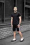 Мужской летний комплект чёрная футболка и чёрные шорты лампас, фото 4