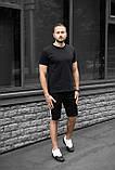 Мужской летний комплект чёрная футболка и чёрные шорты лампас, фото 5
