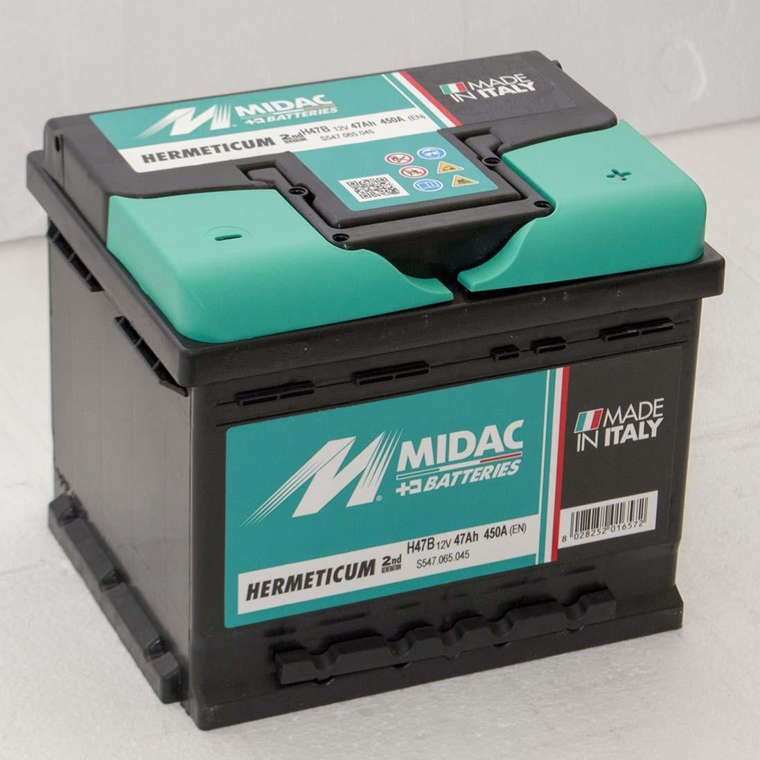 Аккумулятор автомобильный MIDAC HERMETICUM 6 СТ-12В 47Ач R+ EN450А Италия