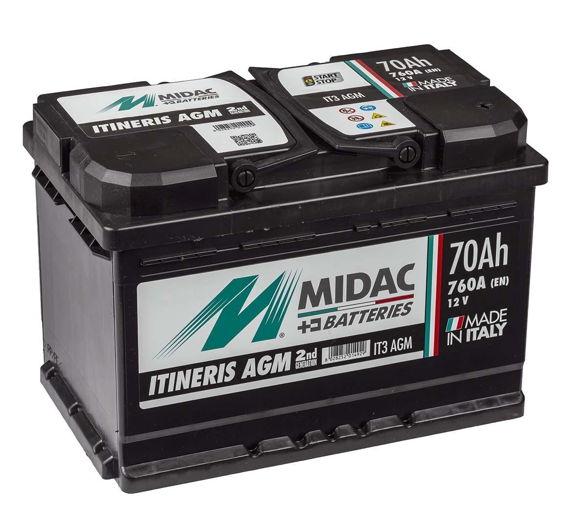 Аккумулятор автомобильный  MIDAC ITINERIS START STOP AGM, 12V, 70Ah,760А R Мидак Итинерис Италия