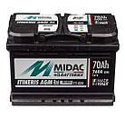 Аккумулятор автомобильный  MIDAC ITINERIS START STOP AGM, 12V, 70Ah,760А R Мидак Итинерис Италия, фото 2