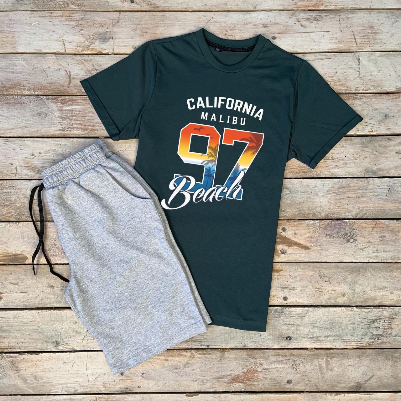 """Чоловічий річний комплект темно-зелена футболка з принтом """"CALIFORNIA"""" і меланжеві шорти"""
