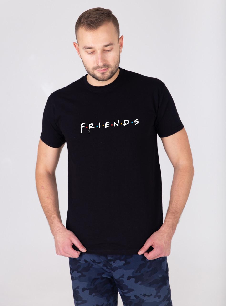 """Чоловіча чорна футболка з принтом """"FRIENDS"""""""