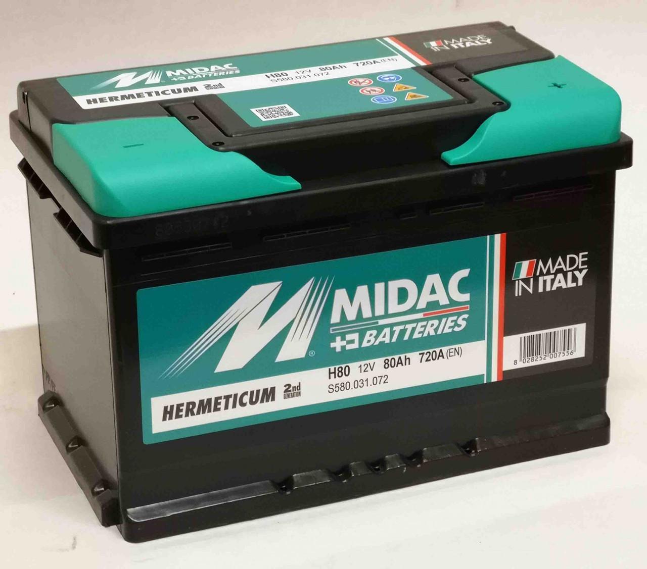 Аккумулятор автомобильный MIDAC HERMETICUM 6СТ-12В 80Ач R+ EN720А Италия