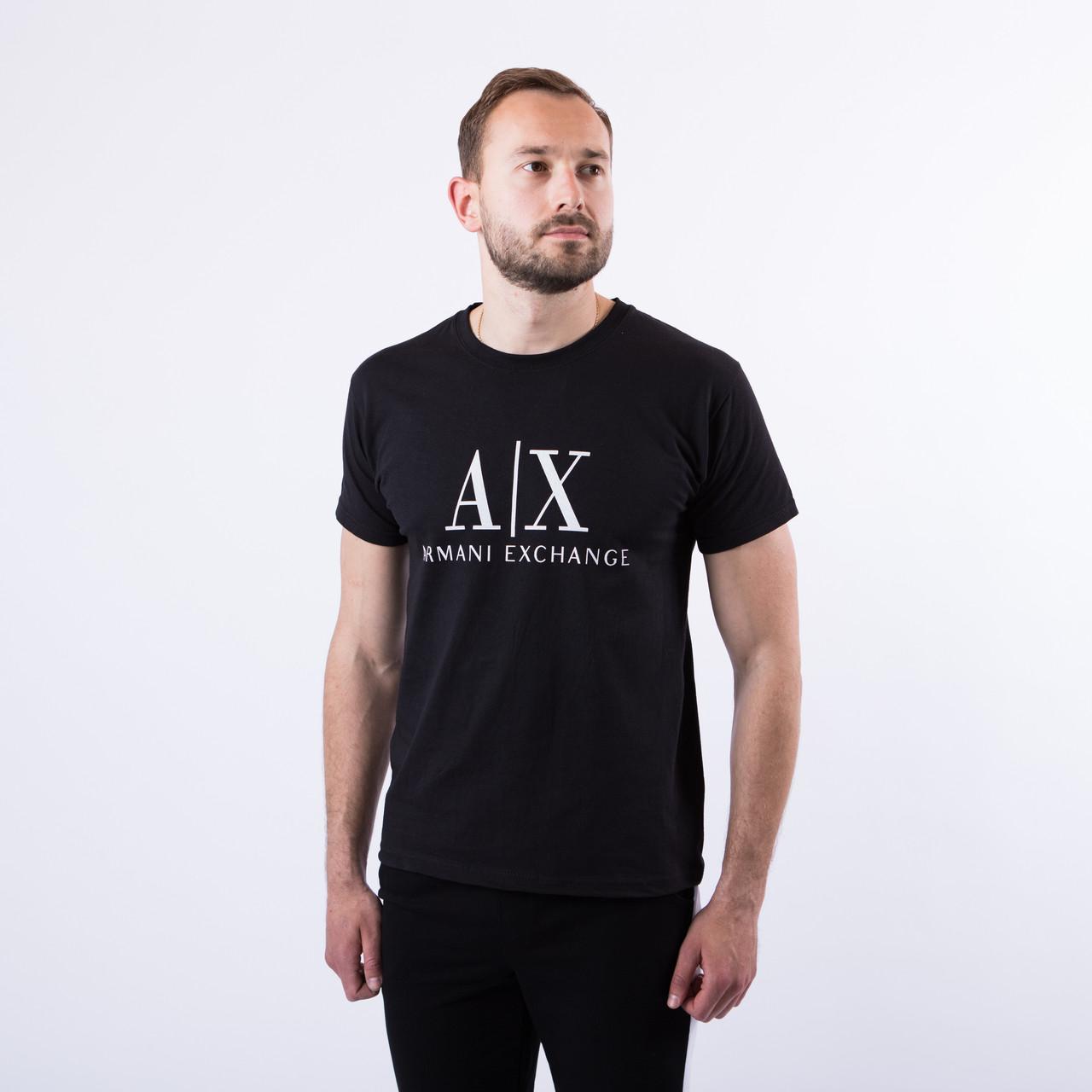 """Чоловіча чорна футболка з принтом """"Armani"""""""