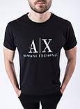 """Чоловіча чорна футболка з принтом """"Armani"""", фото 2"""