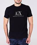 """Чоловіча чорна футболка з принтом """"Armani"""", фото 5"""