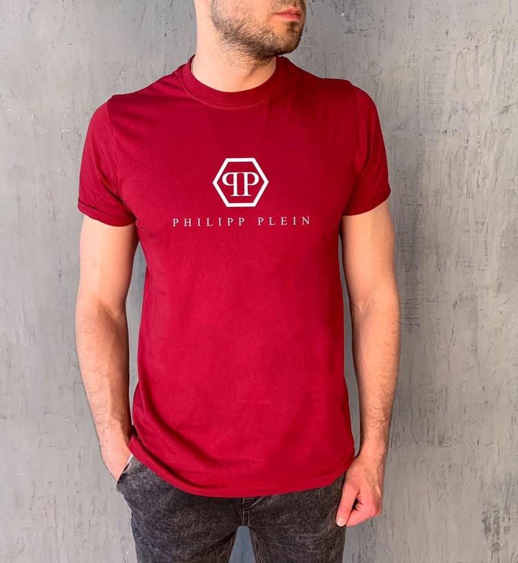 "Мужская красная футболка с принтом ""PHILIPP PLEIN"""