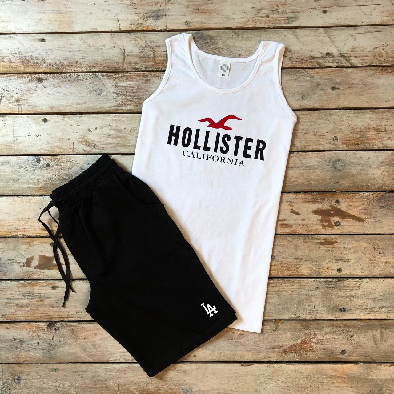 """Мужской летний комплект белая майка с принтом """"HOLLISTER"""" и чёрные шорты с принтом """"LA"""""""