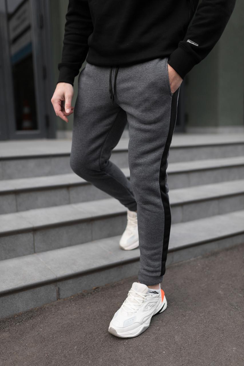 Мужские утепленные штаны с лампасом антрацит