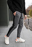 Мужские утепленные штаны с лампасом антрацит, фото 3
