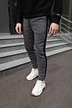 Мужские утепленные штаны с лампасом антрацит, фото 6