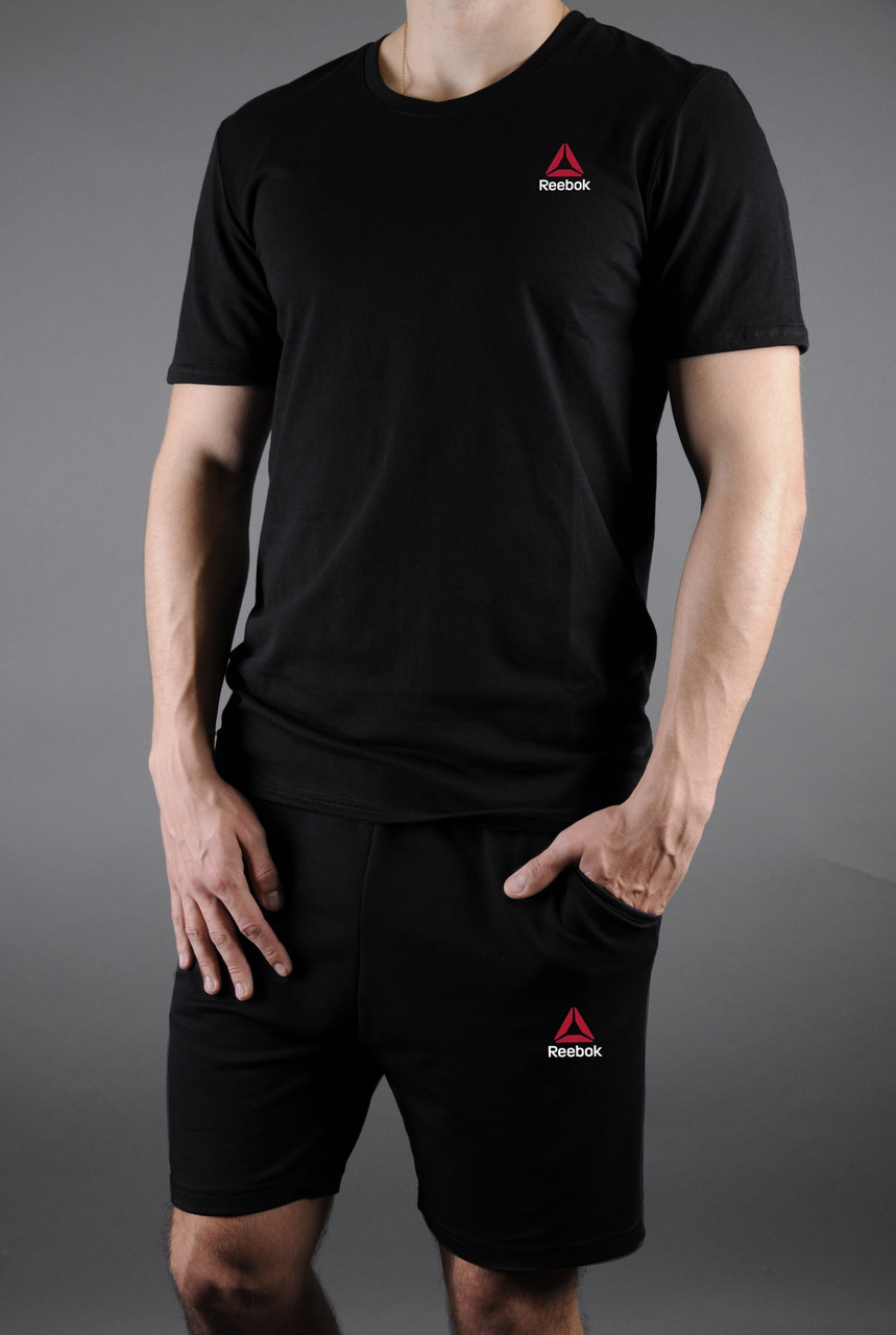 Мужской комплект черная футболка Reebok + черные шорты Reebok